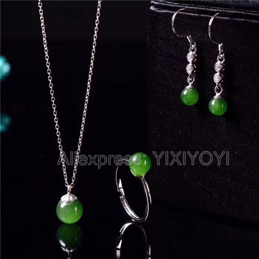 925 Silver Green HeTian Jade Jasper Beads Round Dangle Lucky Pendant + Chain Necklace Earring Ring Set Woman's Fine Jewelry 925 silver natural white white hetian jade beads inlay flower dangle lucky pendant necklace ring elegant woman s jewelry set