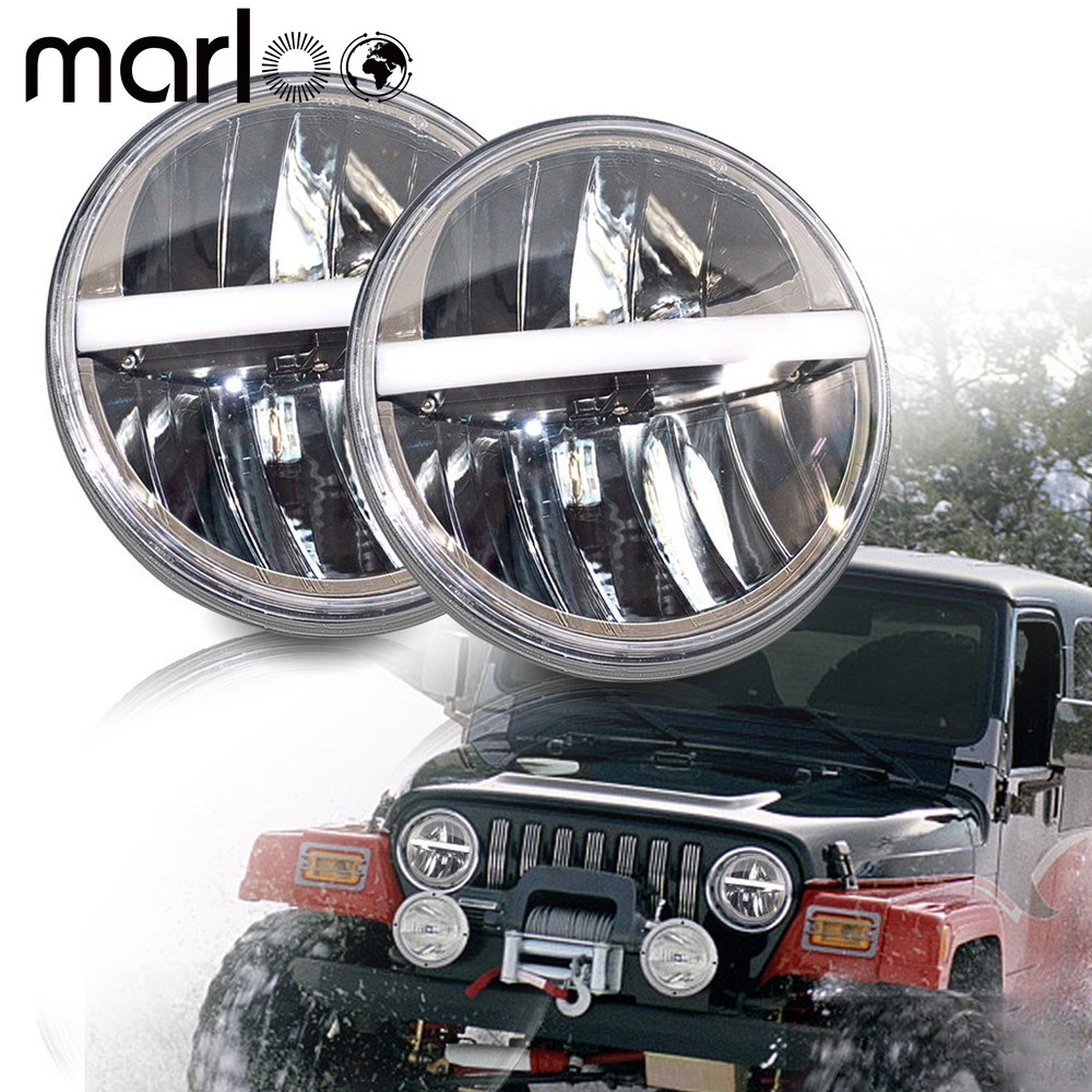 Marloo 7Inch Led Headlight DRL/Amber Turn Lights For Jeep Wrangler JK TJ LJ CJ Willys Wheeler Rubicon Sahara Hummer Defender 60w 12v 4300k universal cree led headlight with hight power led driving lights for jeep wrangler cj 7 cj 8 replacement kit