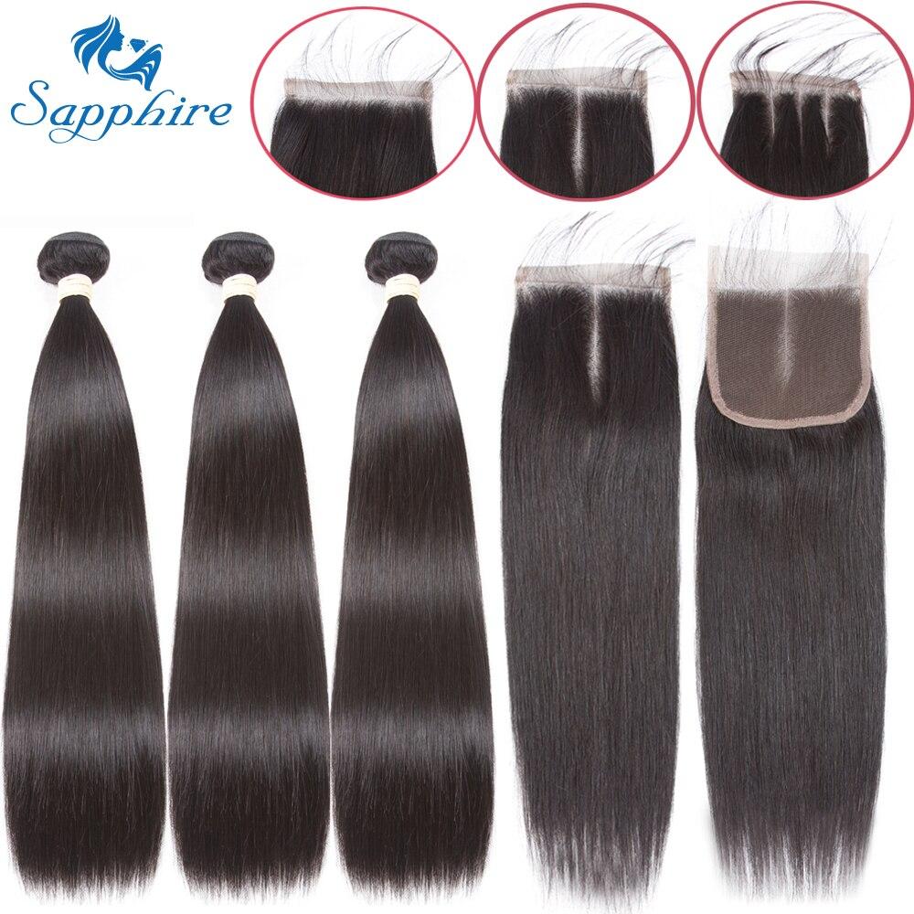 Paquetes rectos de zafiro con cierre de paquetes de tejido de pelo brasileño con cierre de paquetes de cabello humano con cierre de extensión de cabello