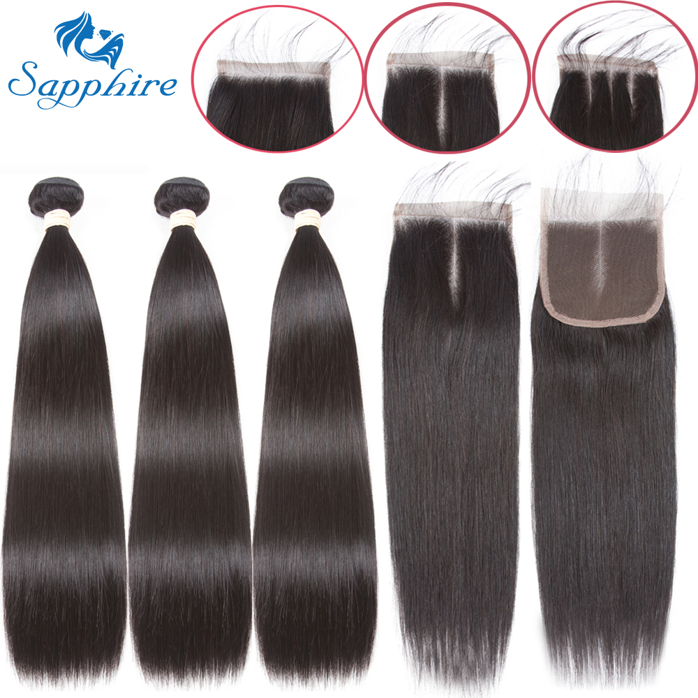 Sapphire Hair Brazilian Straight Hair Bundles With Closure Human Hair Weave Bundles 4 PCS Straight Human Hair Extension