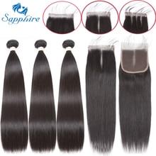 Sapphire Straight Bundles With Closure Brazilian Hair Weave