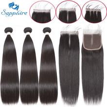 Sapphire Straight wiązki z zamknięciem brazylijskie włosy splot wiązki z zamknięciem ludzkich włosów wiązki z zamknięciem przedłużania włosów tanie tanio SP-3 + 1ALLST Włosy bez Remy Proste = 5
