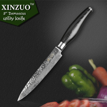 XINZUO 5″  inch utility knife high quality fruit knife 73 layers Japanese Damascus kitchen knife Color wood handle free shipping