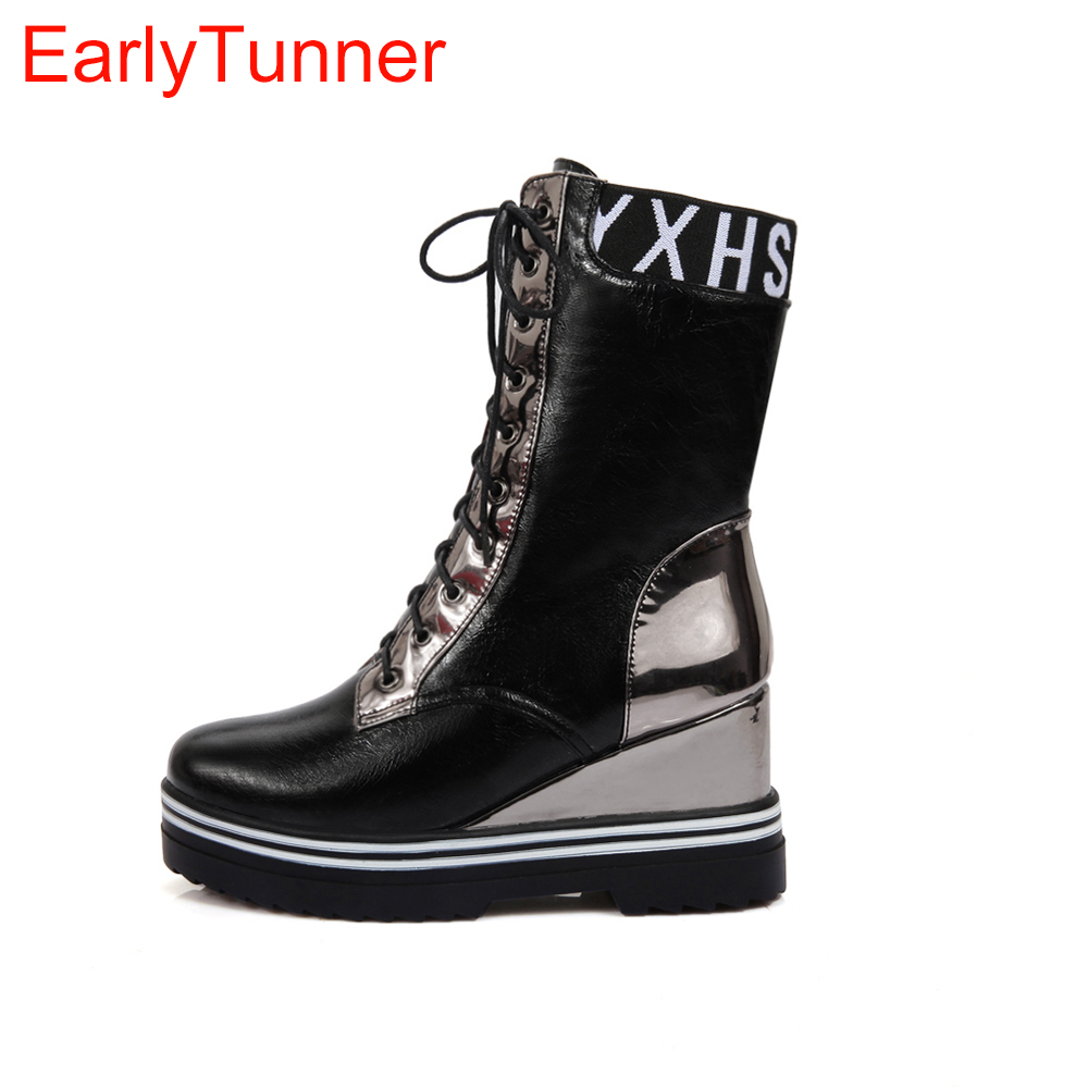 New Winter Women Mid Calf Wedges Boots Fashion Black Silver Beige Lady Casual Motorcycle Shoes EYM11 Plus Big size 10 43 fall new belt buckle motorcycle boots large size women s shoes black beige leisure footwear