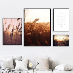 Image 3 - 농장 공장 밀 잎 풍경 따옴표 벽 아트 캔버스 회화 북유럽 포스터와 인쇄 벽 장식 거실 장식