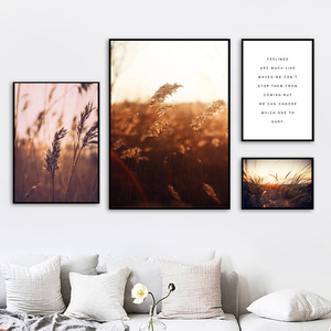 Image 3 - Farm Plant Wheat Leaves Landscape Quotes Wall Art Canvas Painting Nordic Posters And Prints Wall Pictures For Living Room Decor