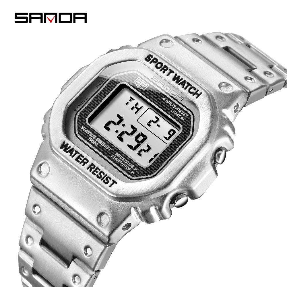 SANDA Digital Watch Stainless-Steel Waterproof Men's Fashion Relogio Business Masculino