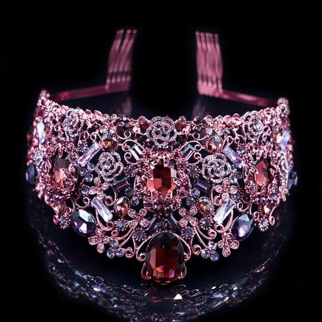 Luxury Purple Crown Crystal Wedding Head Tiaras Bridal Hair Accessories Vintage Crowns Beauty Vine