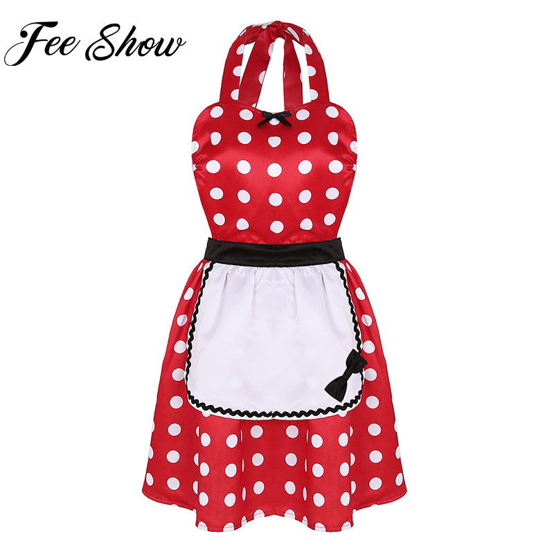 Adult Princess Anime Women Costumes Cosplay Cartoon Kitchen Aprons Cooking Salon Vintage Polka Dots Apron Dress with Pocket