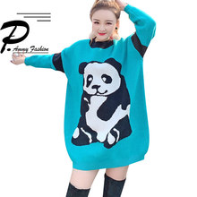 2018 early autumn new panda sweater womens sweaters Korean version of the long paragraph pullover loose O-neck Long Tops(China)