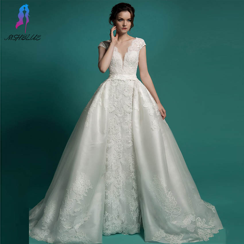 Vestido De Noiva 2 In 1 Long Bridal Gown Detachable Skirt ...