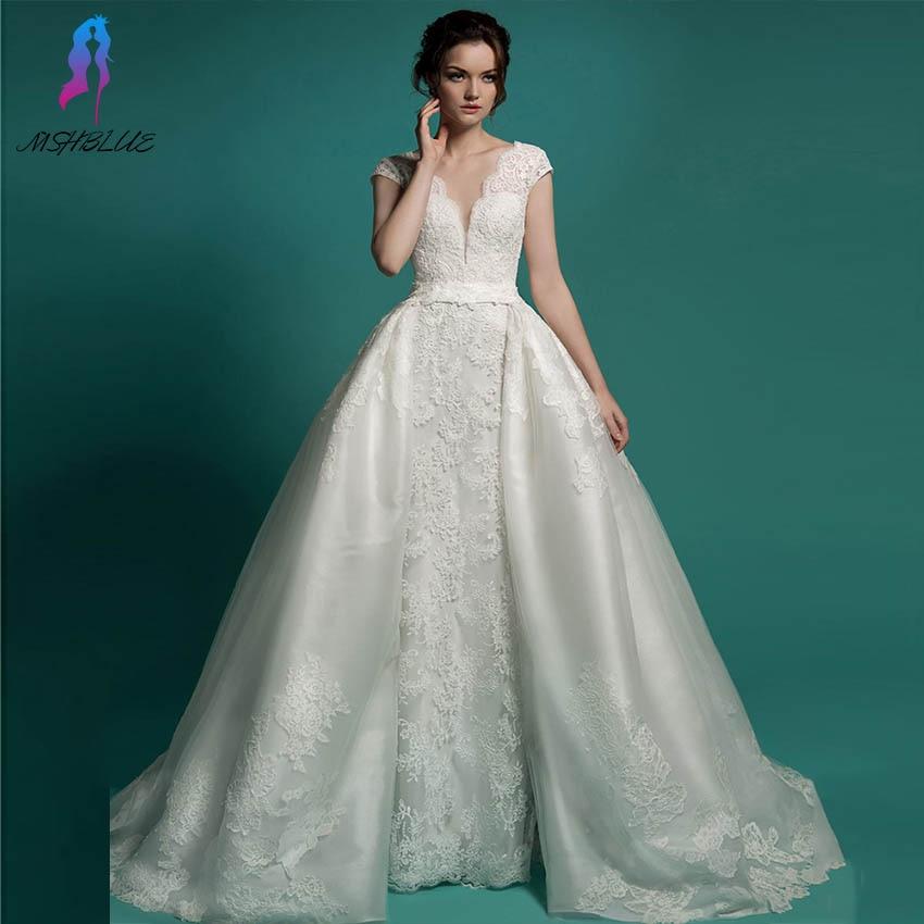 Two In One Wedding Gowns: Vestido De Noiva 2 In 1 Long Bridal Gown Detachable Skirt