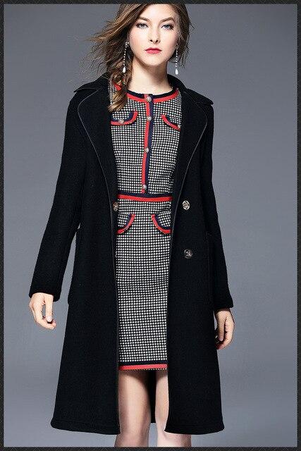 Section Long Belt Women 2017 New Style Wool Fashion Coat Winter Brand Russia Black 8Ew7pp5znq