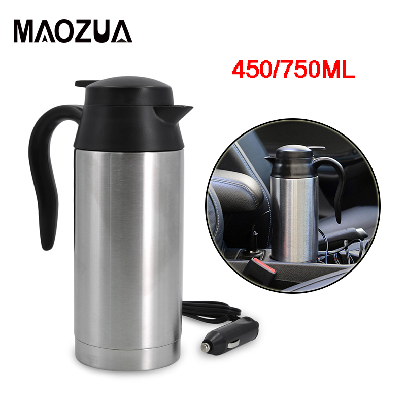 Maozua Auto Car Heating Cup Stainless Steel Car Electric Kettle Boiling Coffee Tea Water Heater Vehicle Thermos