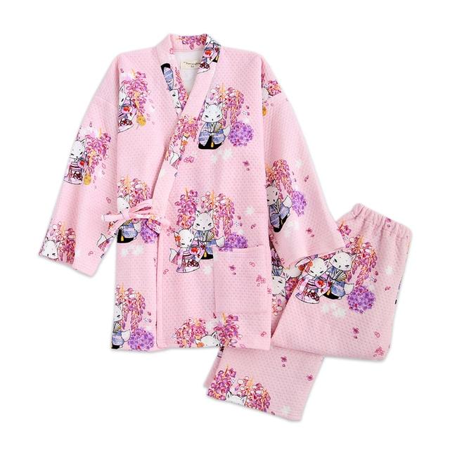 Sexy pink sakura Fox kimono quilted pajamas winter women pajama sets  Japanese thicken 100% cotton 43a4e772c