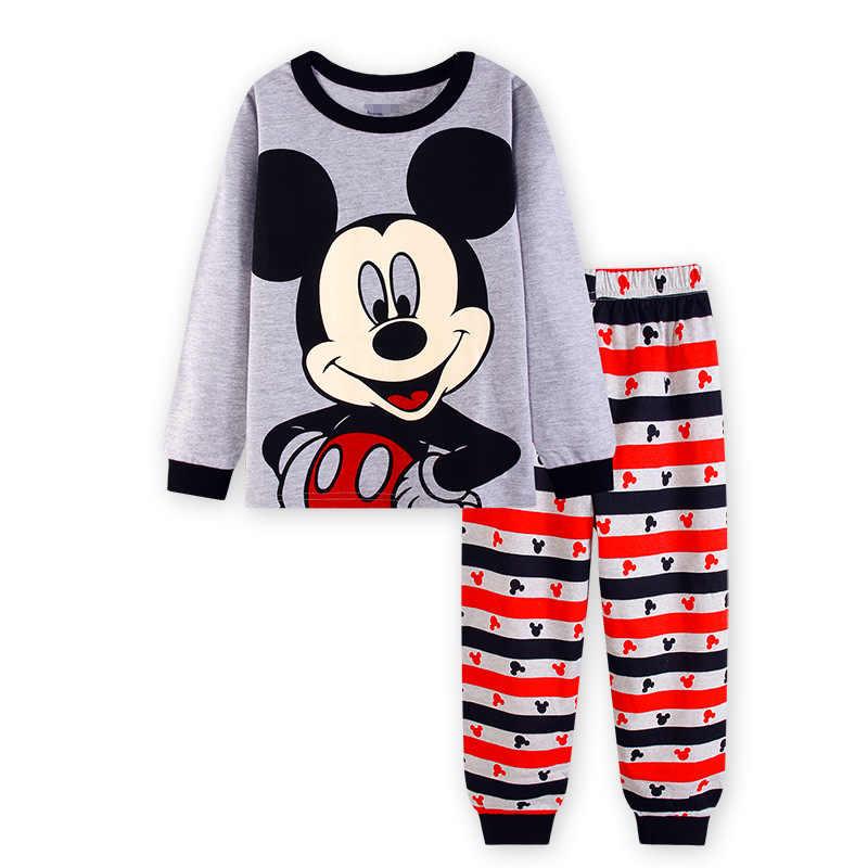 2019 nouveaux garçons à manches longues Pyjamas enfants Mickey Mouse Pyjamas bébé coton Pijama vêtement de nuit pour enfants filles vêtements ensembles bébé porte
