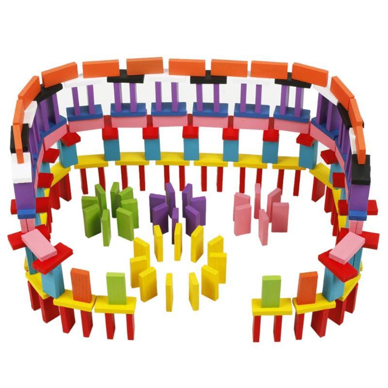 120 Teile/satz Holz Farbige Dominosteine Ziegel Regenbogen Kinder Gehirn-ausbildung Frühe Pädagogische Hölzerne Domino Spielzeug Attraktives Aussehen Gebäude & Konstruktionsspielzeug