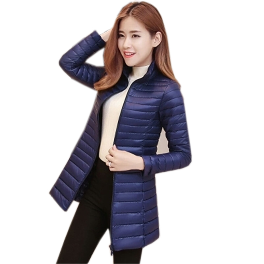 New Chic Winter Women Midi Long   Down     Coat   Lady Stand Collar White Duck   Down   Jacket Slim Plus Size   Down   Jacket Female   Coats   WZ120