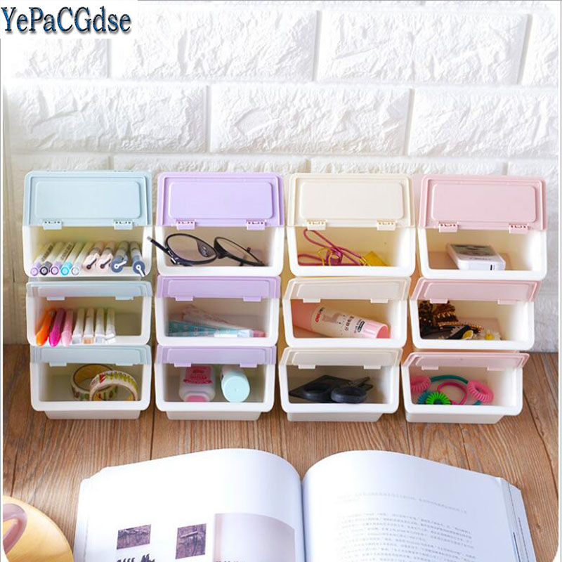 Desktop Debris Stationery Storage Box Plastic Cosmetic Makeup Organizer Boxes Bead Rings Jewelry Storage Box