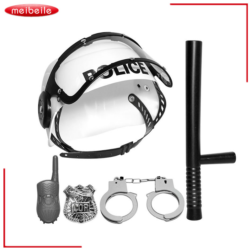 Plastic Police Play Set Simulation Stick Interphone Badge Handcuff Hat Toy for Children  ...