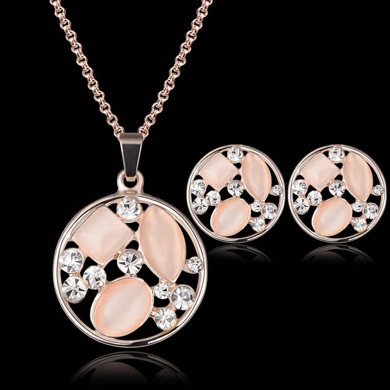 Women's fashion Water Drop Imitation Rhinestone Link Necklace Pendant Earring Charm Jewelry Set pendientes mujer Gifts Wedding