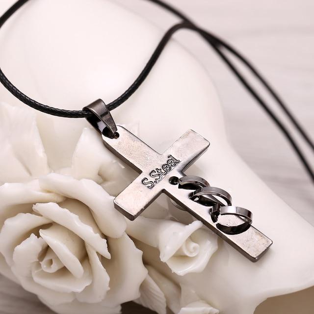 Hot Anime Death Note Black Gold Metal Necklace Cross Logo Pendant Cosplay Accessories Women Men Jewelry Necklaces & Pendants