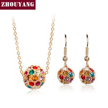 ZHOUYANG ZYS195 Multicolour Crystal Ball  Rose Gold Plated Jewelry Necklace Earring Set Rhinestone Made with Austrian  Crystals