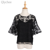 Qlychee Sexy Lace Women Set Floral Embroidery Blouse V Neck Camisole Set See Through Chiffon Flare