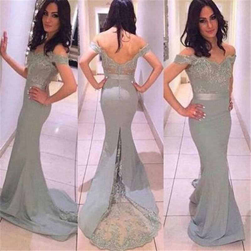 Vestido Madrinha Mermaid Silver Lace Bridemaid Dresses 2019 Off The Shoulder Appliques Backless Prom Dresses For Wedding Party