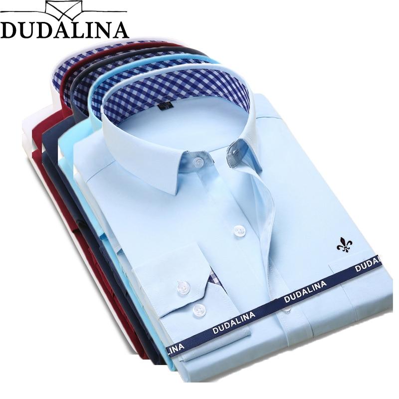 Dudalina New Classical Dress Shirt Male Shirt Men Spring Autumn Long Sleeve Solid Twill Formal Business Men Social Shirts