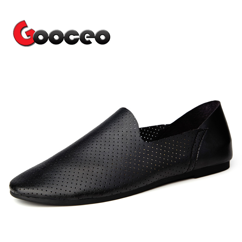Для мужчин Лоферы обувь на плоской подошве для Для мужчин на лето и весну Air отверстие кожа плоской подошве с низким верхом Slip-On света нет каб...