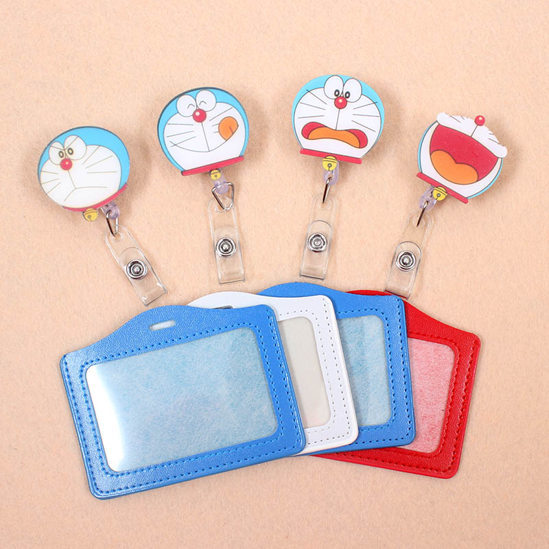 1pcs New Doraemon PU Card Case Holder Bank Credit Card Holders Card Bus ID Holders Identity Badge With Cartoon Retractable Reel