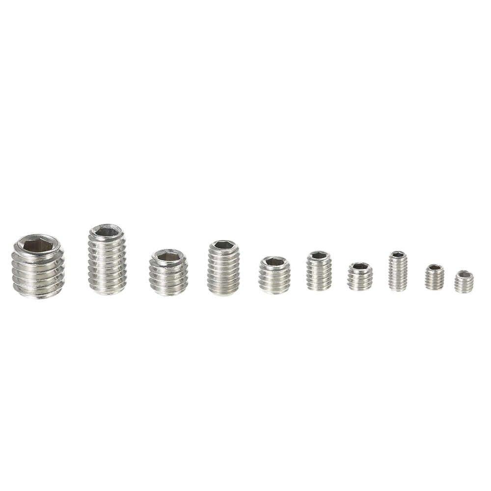 200 pcs Stainless Steel Socket Screws Allen Head Socket Hex Set Grub Assortment Cup Point Column M3-M6/M8 Hexagonal Screw Kit