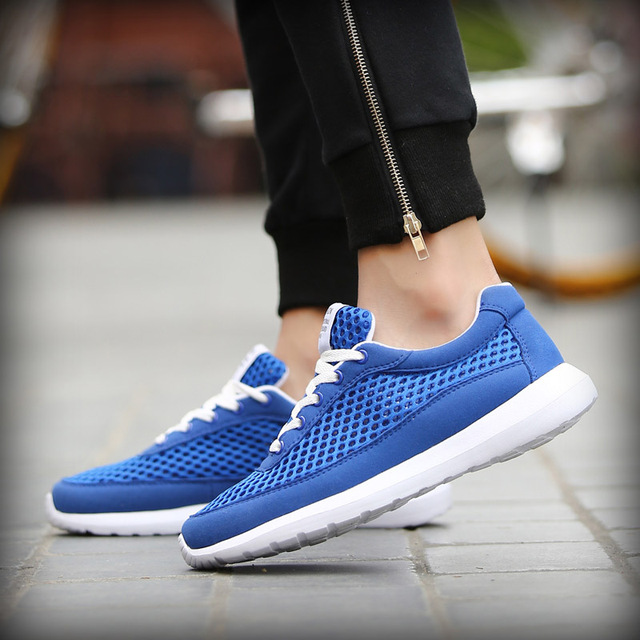 2017 Breathable Men Casual Shoes Spring Summer Comfortable Soft Walking Shoes Lace Up Mens Trainers Light Outdoor Shoes Men