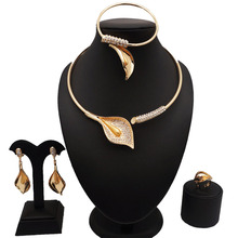 18k gold plated fashion jewelry sets african wedding  big set women necklace