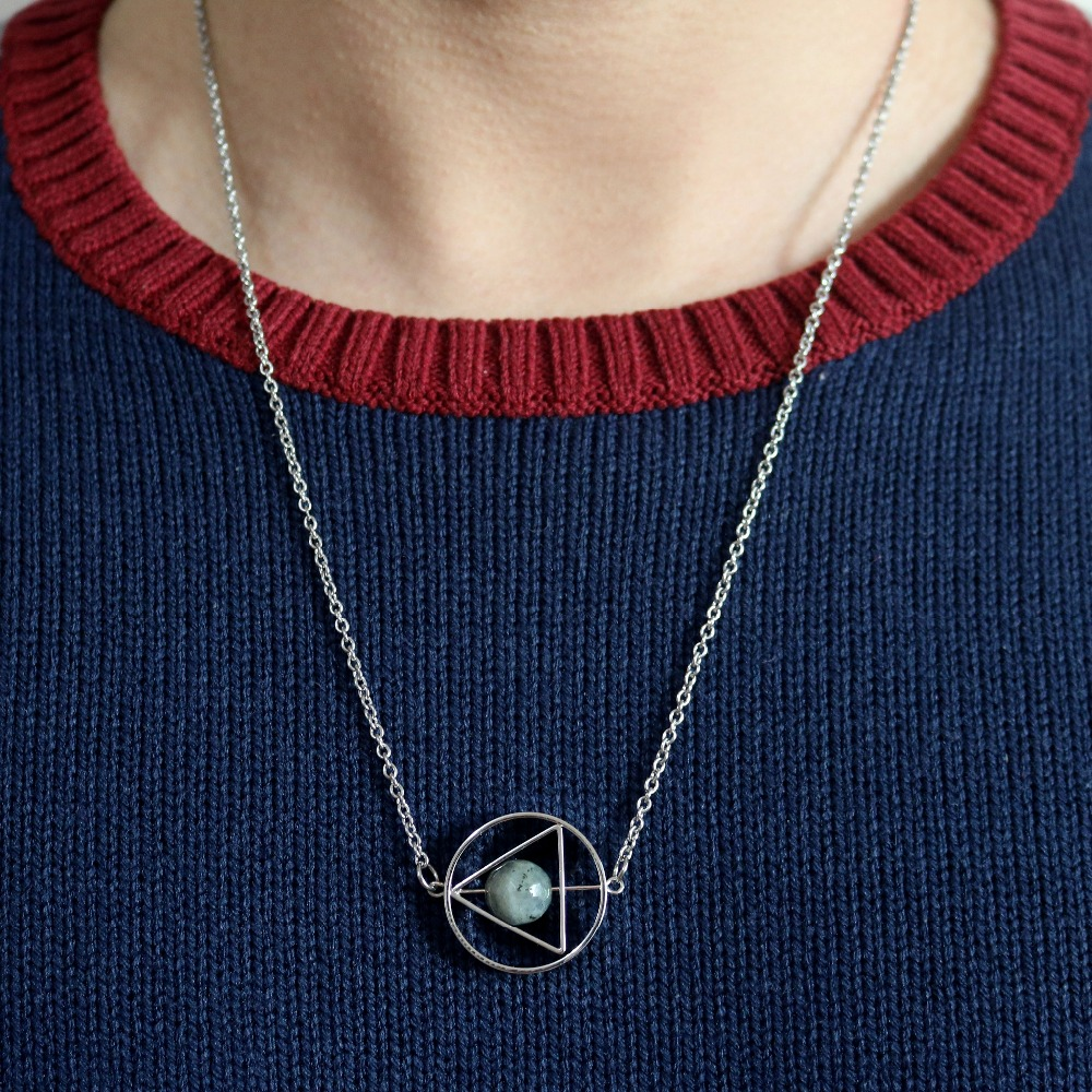 Star Trek Unisex Stainless Steel Triangle Shaped Outer Space Pendant Necklace
