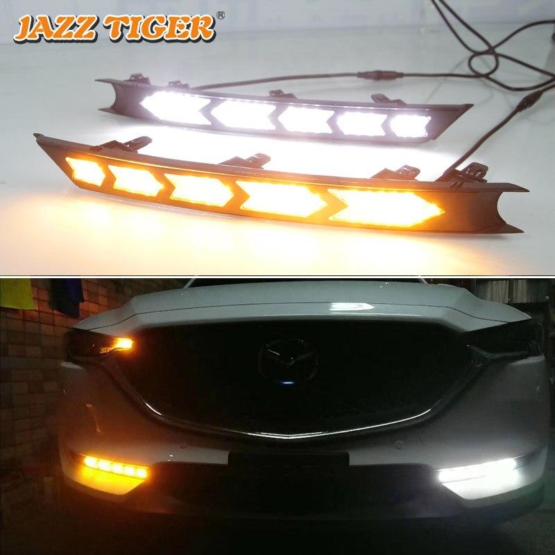 JAZZ TIGER 2PCS Yellow Flowing Turn Signal Function DC 12V ABS Car DRL LED Daytime Running Light For Mazda CX-5 CX5 2017 2018 2pcs set led drl daylight lamp daytime running lights car drl led kit for mazda cx 5 cx5 cx 5 2012 2013 2014 2015