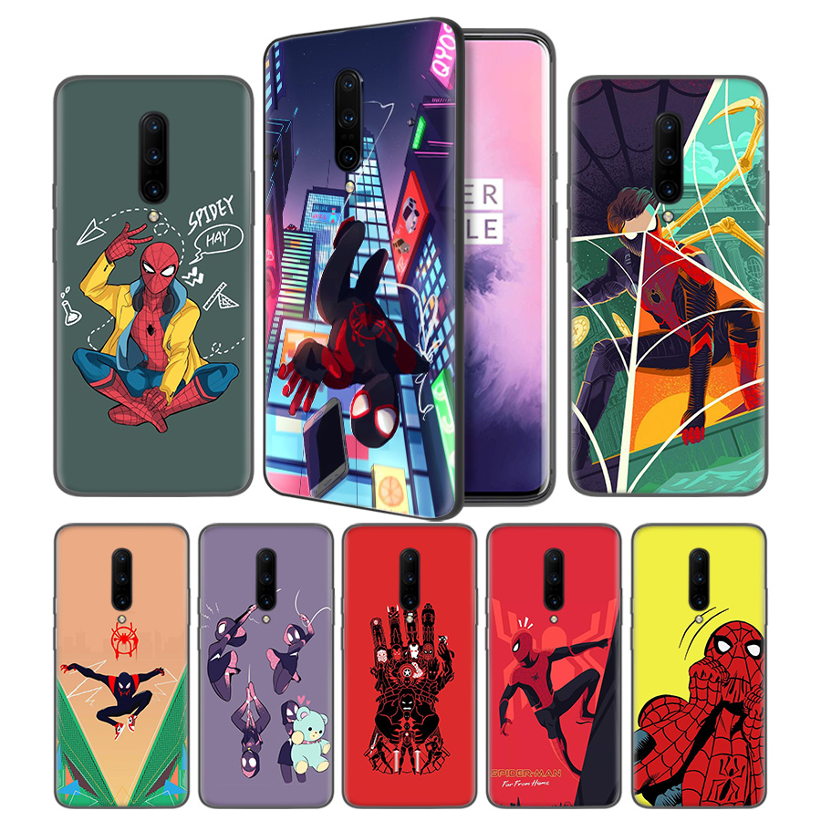 Spider Man Far From Home Movie Black TPU Silicone Case Cover for font b OnePlus b
