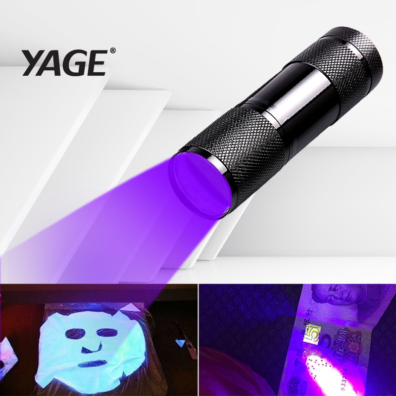 YAGE YG-340C Latarka Mini UV LED uf Latarka Violet Light 9 LED UV Latarka Lampa światła do AAA Bateria Ultrafioletowa latarka
