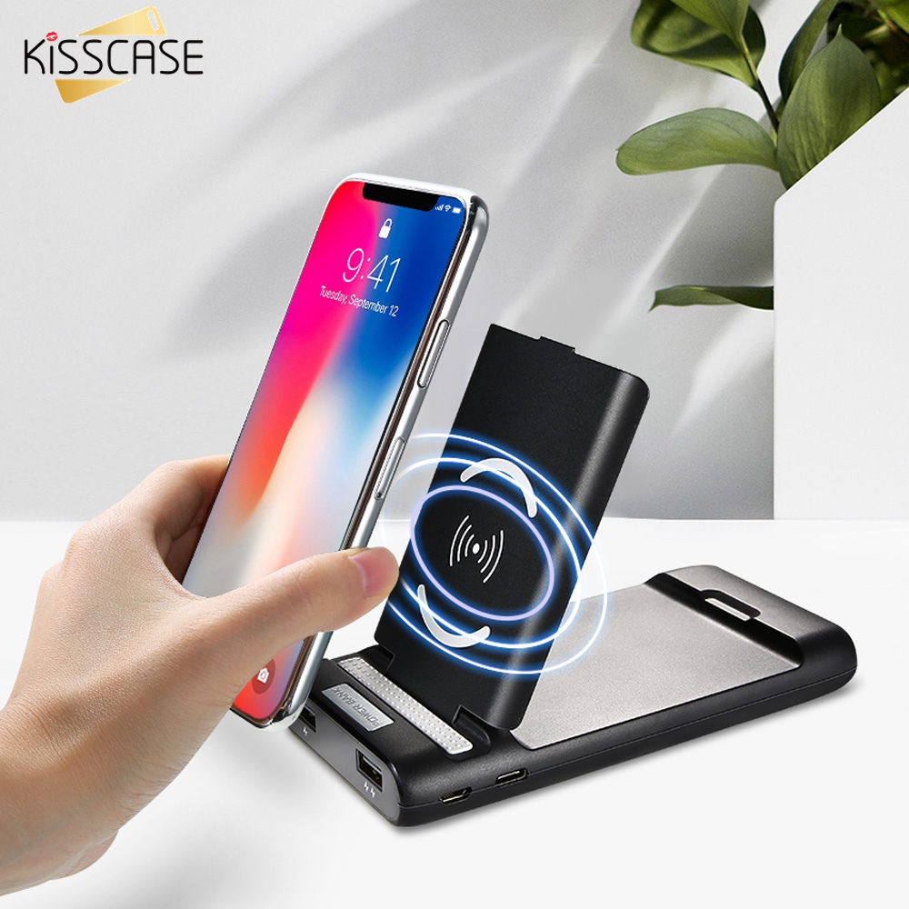 KISSCASE <font><b>3</b></font> in1 <font><b>10000</b></font> Mah Power Bank Phone Dual USB Wireless Charger Desk Phone Holder Stand For iPhone <font><b>7</b></font> 8 11 Pro Max Poverbank image