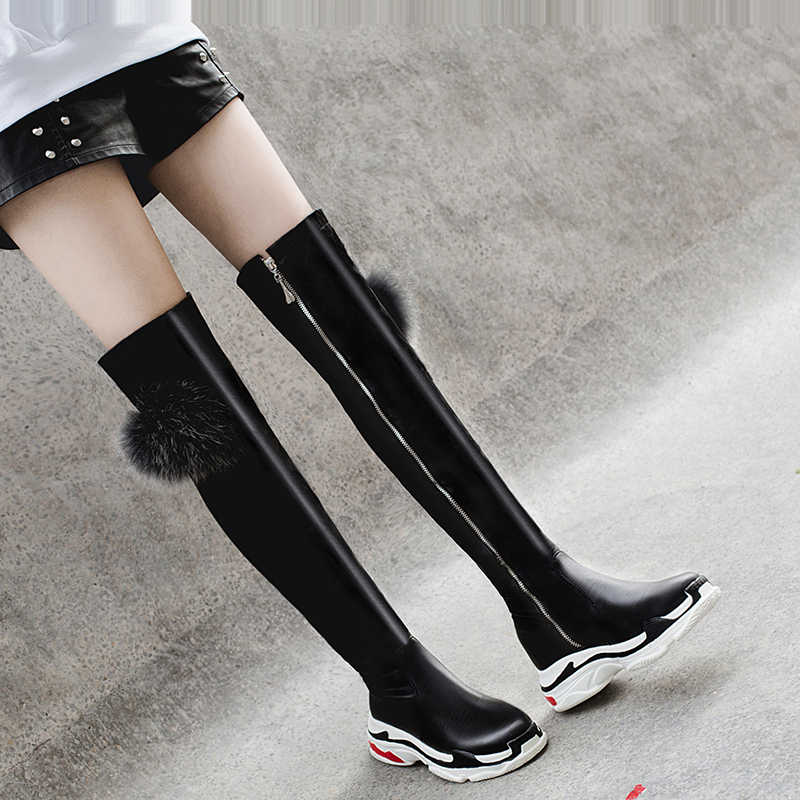 DORATASIA 2019 סתיו סקסי מעל הברך ירך גבוהה מגפי נשים Dady סניקרס נעלי אישה בתוספת גודל 29-46 מזדמן נשים מגפיים