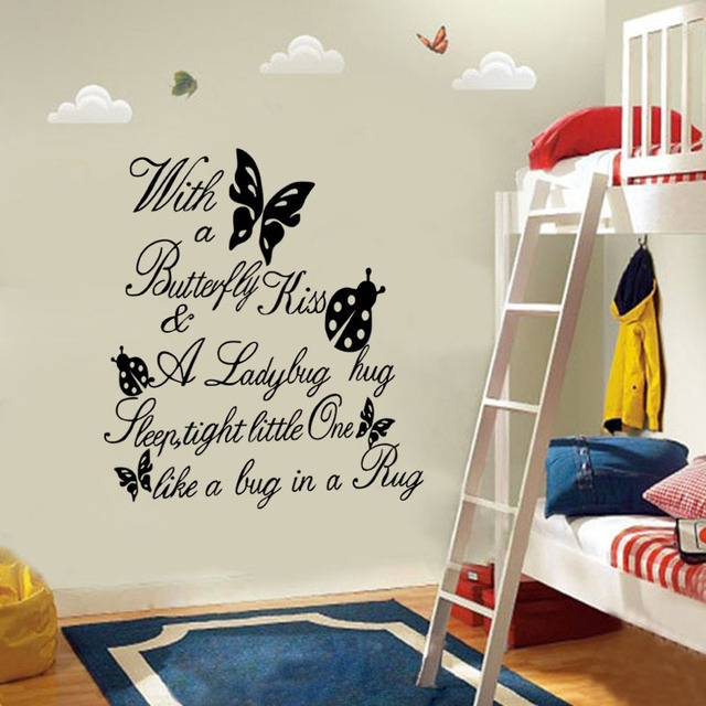Butterfly Kiss Ladybug Quotes Wall Stickers Cartoon Kids Bedroom Living  Room Poster Vinyl Decoration Decal Home