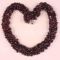 "Jewelry 4X8MM Natural Garnet Chip Beads Nylon Line Weave Necklace 18"" 1Pcs E042"