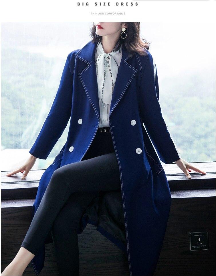 Slim A175 Navy Manteaux Cool Coréenne Femmes M Bleu Design Style Long Mode Nouveau De Taille Col Blue Filles 2019 Survêtement Foncé Xl Vêtements Ouvert wBp1vq7
