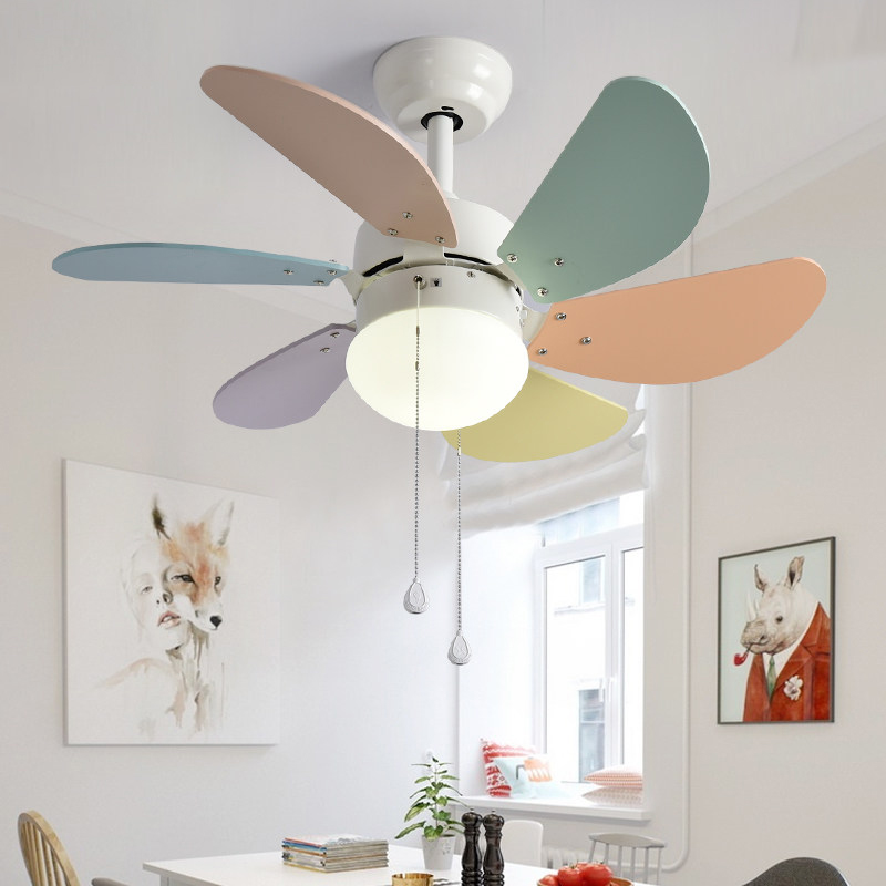 Ceiling Fans Modern Simple Macaron Ceiling Lamp With Fan Kids Room Bedroom Living Room Wood Fan Leaf Colorful Lamp Deco Pendant Lamp Lights & Lighting