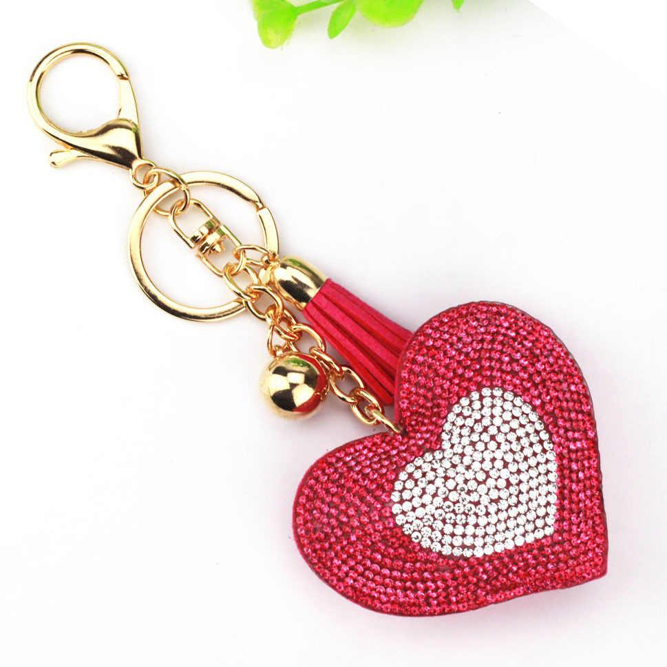 9 цветов позолоченный Двойное сердце брелок для ключей с кожаными кисточками ключницы металлический кристалл брелок на цепочке Подвеска для автомобиля подарок