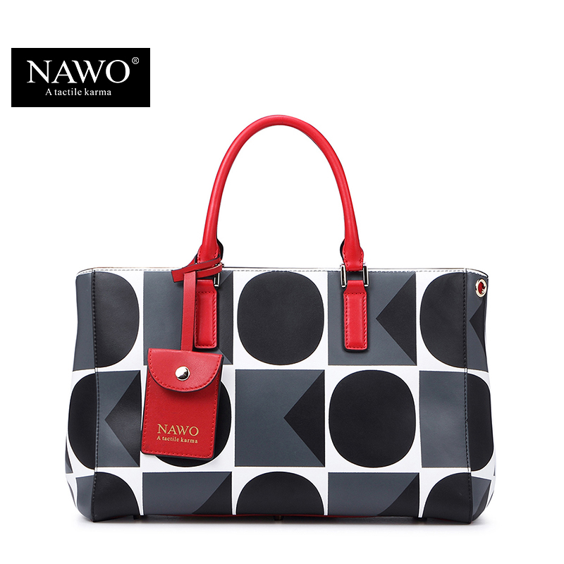 NAWO Geometric Leather Bags Handbags Women Famous Brands Designer Causal Women B