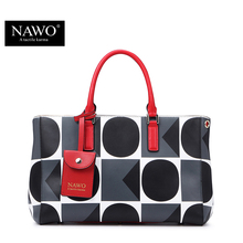 NAWO Geometric Leather Bags Handbags Women Famous Brands Designer Causal Women Bag Tote Dot Shoulder Bags Purse Bolsas Feminina