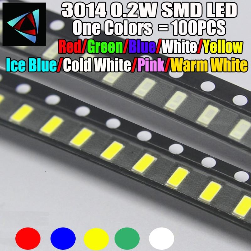 100 pces novo 3014 0.2 w 3.0*1.4mm 2.0-3.2 v vermelho/verde/azul/branco/amarelo gelo azul/branco frio/rosa/branco quente smd led kit