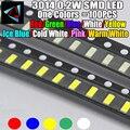100 шт. новинка 3014 0,2 вт 3,0*1,4 мм 2,0-3,2 в красный/зеленый/холодный синий/белый/желтый холодный синий/холодный белый/розовый/теплый белый SMD светод...